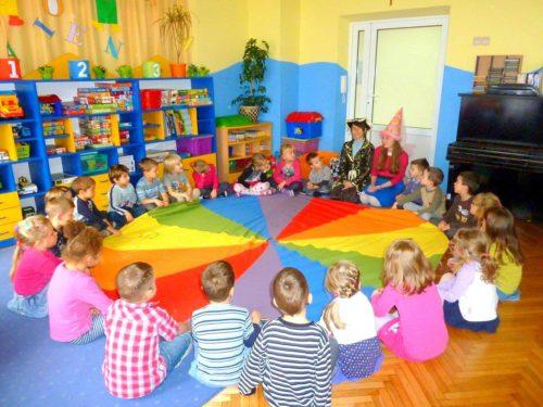 urodziny dla dzieci kraków, zabawy z chustą klanzy, animacje w przedszkolu kraków